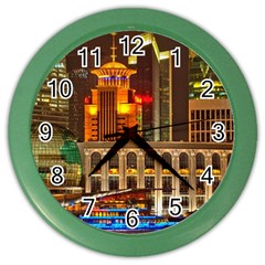 Shanghai Skyline Architecture Color Wall Clocks by BangZart
