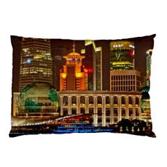 Shanghai Skyline Architecture Pillow Case