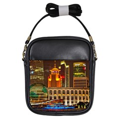 Shanghai Skyline Architecture Girls Sling Bags by BangZart
