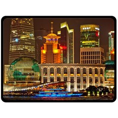 Shanghai Skyline Architecture Fleece Blanket (large)