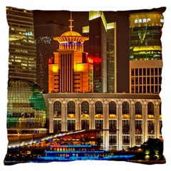 Shanghai Skyline Architecture Large Cushion Case (two Sides) by BangZart
