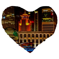 Shanghai Skyline Architecture Large 19  Premium Heart Shape Cushions by BangZart