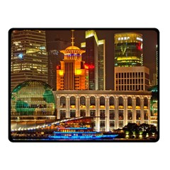 Shanghai Skyline Architecture Double Sided Fleece Blanket (small)  by BangZart
