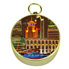 Shanghai Skyline Architecture Gold Compasses by BangZart