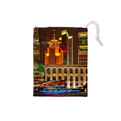 Shanghai Skyline Architecture Drawstring Pouches (small)