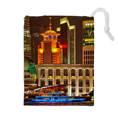 Shanghai Skyline Architecture Drawstring Pouches (extra Large)