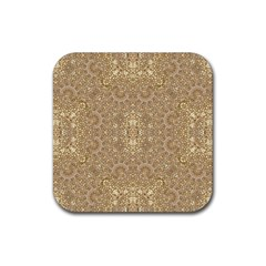 Ornate Golden Baroque Design Rubber Square Coaster (4 Pack)  by dflcprints