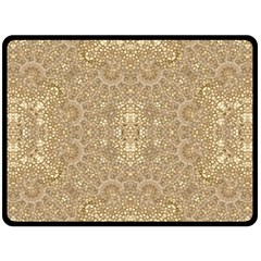 Ornate Golden Baroque Design Double Sided Fleece Blanket (large)  by dflcprints
