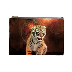 Cute Little Tiger Baby Cosmetic Bag (large)  by FantasyWorld7