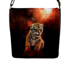 Cute Little Tiger Baby Flap Messenger Bag (l)  by FantasyWorld7
