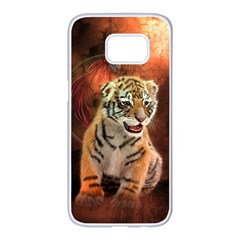 Cute Little Tiger Baby Samsung Galaxy S7 Edge White Seamless Case by FantasyWorld7