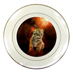 Cute Little Tiger Baby Porcelain Plates by FantasyWorld7