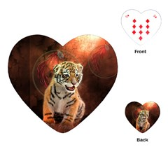 Cute Little Tiger Baby Playing Cards (heart)  by FantasyWorld7