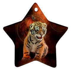 Cute Little Tiger Baby Star Ornament (two Sides) by FantasyWorld7