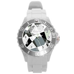 Monogram Marble Mosaic Round Plastic Sport Watch (l) by allgirls
