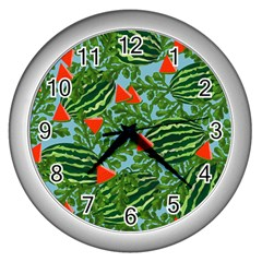 Juicy Watermelons Wall Clocks (silver)  by allgirls