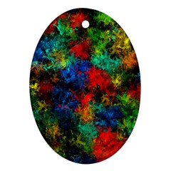 Squiggly Abstract A Oval Ornament (two Sides) by MoreColorsinLife