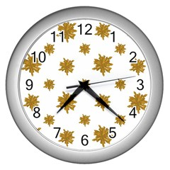 Graphic Nature Motif Pattern Wall Clocks (silver)  by dflcprints