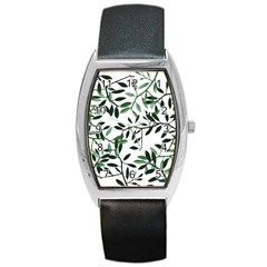 Botanical Leaves Barrel Style Metal Watch by allgirls