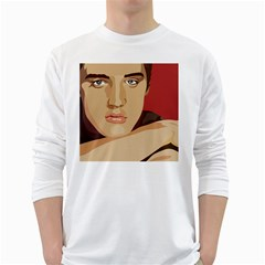 Elvis Presley White Long Sleeve T Shirts by Photozrus
