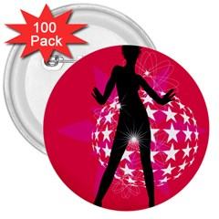 Sexy Lady 3  Buttons (100 Pack)  by Photozrus
