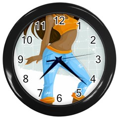 Sexy Woman Wall Clocks (black) by Photozrus