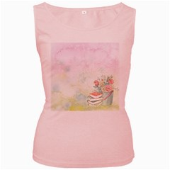Romantic Watercolor Books And Flowers Women s Pink Tank Top by paulaoliveiradesign