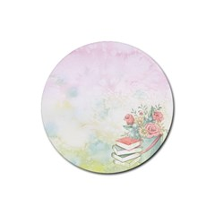 Romantic Watercolor Books And Flowers Rubber Round Coaster (4 Pack)  by paulaoliveiradesign