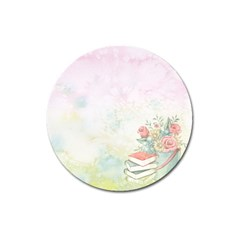 Romantic Watercolor Books And Flowers Magnet 3  (round) by paulaoliveiradesign