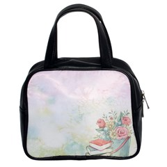 Romantic Watercolor Books And Flowers Classic Handbags (2 Sides) by paulaoliveiradesign