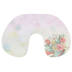 Romantic Watercolor Books And Flowers Travel Neck Pillows by paulaoliveiradesign