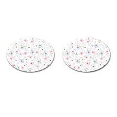 Floral Cute Girly Pattern Cufflinks (oval) by paulaoliveiradesign