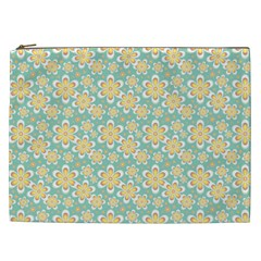 Seamless Pattern Blue Floral Cosmetic Bag (xxl)  by paulaoliveiradesign