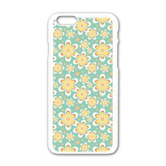 Seamless Pattern Blue Floral Apple Iphone 6/6s White Enamel Case by paulaoliveiradesign