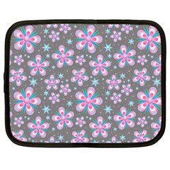 Seamless Pattern Purple Girly Floral Pattern Netbook Case (large) by paulaoliveiradesign