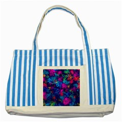 Squiggly Abstract E Striped Blue Tote Bag by MoreColorsinLife