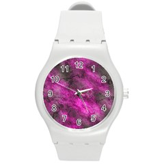 Wonderful Marbled Structure C Round Plastic Sport Watch (m) by MoreColorsinLife