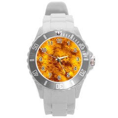 Wonderful Marbled Structure H Round Plastic Sport Watch (l) by MoreColorsinLife