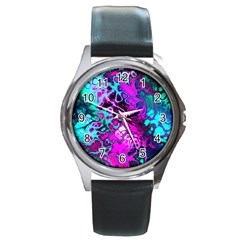 Awesome Fractal 35b Round Metal Watch by MoreColorsinLife