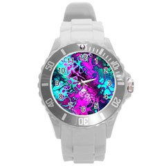 Awesome Fractal 35b Round Plastic Sport Watch (l) by MoreColorsinLife