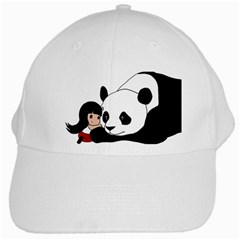 Girl And Panda White Cap by Valentinaart