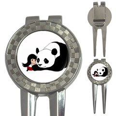 Girl And Panda 3 In 1 Golf Divots by Valentinaart