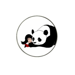 Girl And Panda Hat Clip Ball Marker by Valentinaart