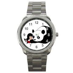 Girl And Panda Sport Metal Watch by Valentinaart