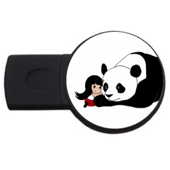 Girl And Panda Usb Flash Drive Round (4 Gb) by Valentinaart
