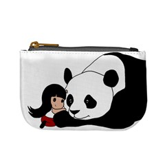Girl And Panda Mini Coin Purses by Valentinaart