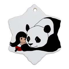 Girl And Panda Ornament (snowflake) by Valentinaart