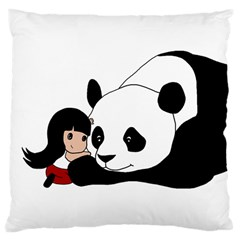 Girl And Panda Large Cushion Case (one Side) by Valentinaart