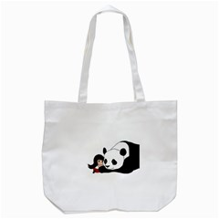 Girl And Panda Tote Bag (white) by Valentinaart