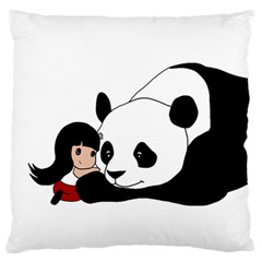 Girl And Panda Standard Flano Cushion Case (one Side) by Valentinaart